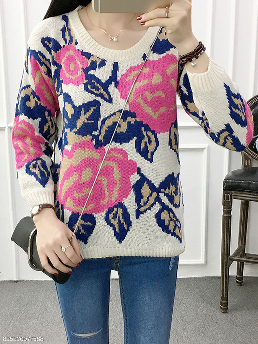 Round Neck  Floral Printed  Long Sleeve Sweaters Pullover