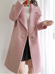 Lapel  Slit Pocket  Single Button  Plain  Long Sleeve Coats