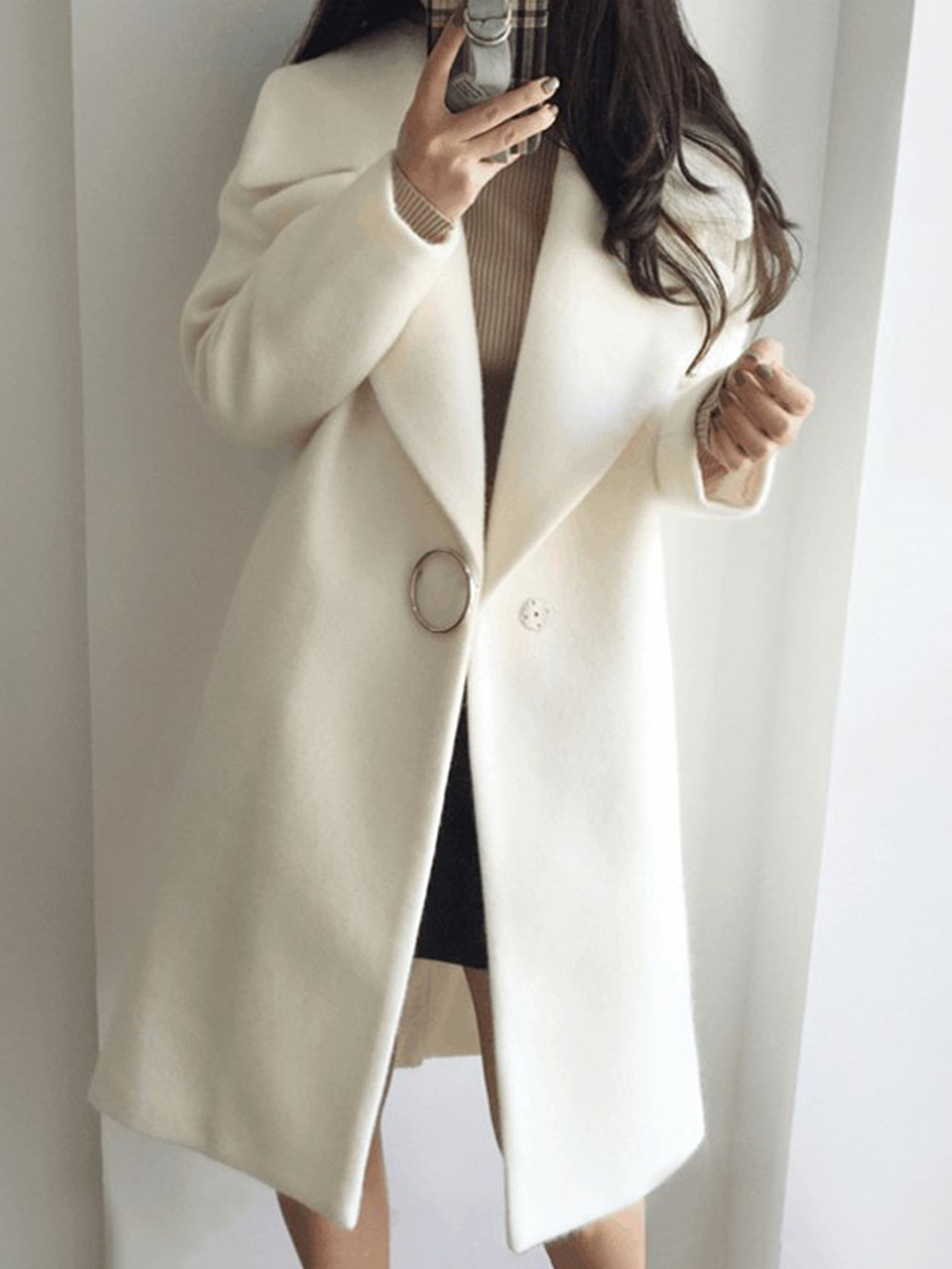 Lapel Single Button Decoration Plain Pocket Woolen Coat