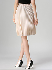 Basic Plain Elastic Waist Pleated Midi Skirt