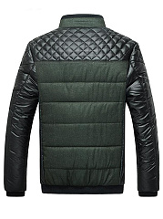 Men High Neck Patchwork Quilted Padded Coat