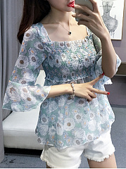 Spring Summer  Chiffon Cotton  Women  Round Neck  Smocked Bodice  Printed  Bell Sleeve  Half Sleeve Blouses