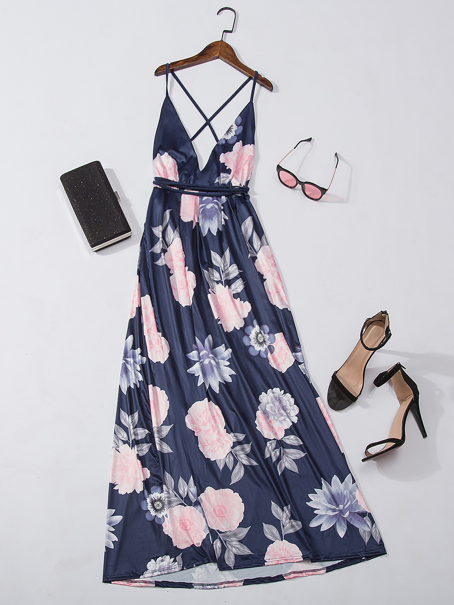 Spaghetti Strap Lace-Up Floral Printed High Slit Maxi Dress