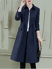 Fold-Over Collar  Drawstring Single Breasted  Plain  Long Sleeve Trench Coats
