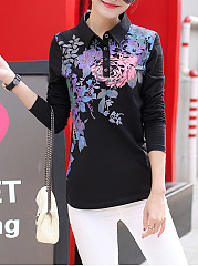 Polo Collar  Rhinestone  Printed Long Sleeve T-Shirt