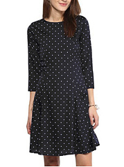 Round Neck  Polka Dot Casual Midi Shift Dress