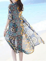 See-Through Pocket Printed Longline Chiffon Kimono