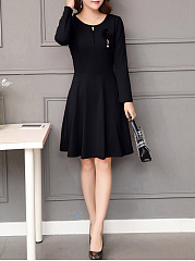 Round Neck Keyhole Plain Skater Dress