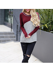 Autumn Spring  Polyester  Women  Round Neck  Striped Long Sleeve T-Shirts