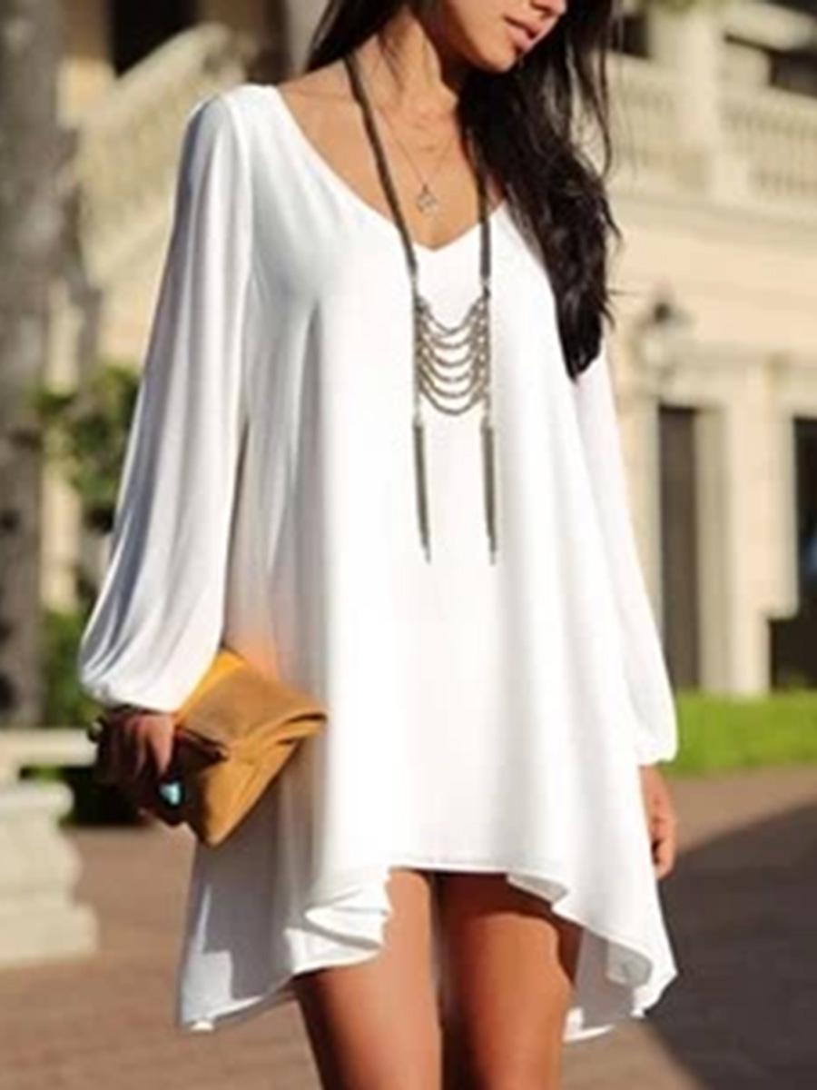 V-Neck Asymmetric Hem Plain Shift Dress