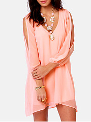 V-Neck  Asymmetric Hem  Plain Shift Dress