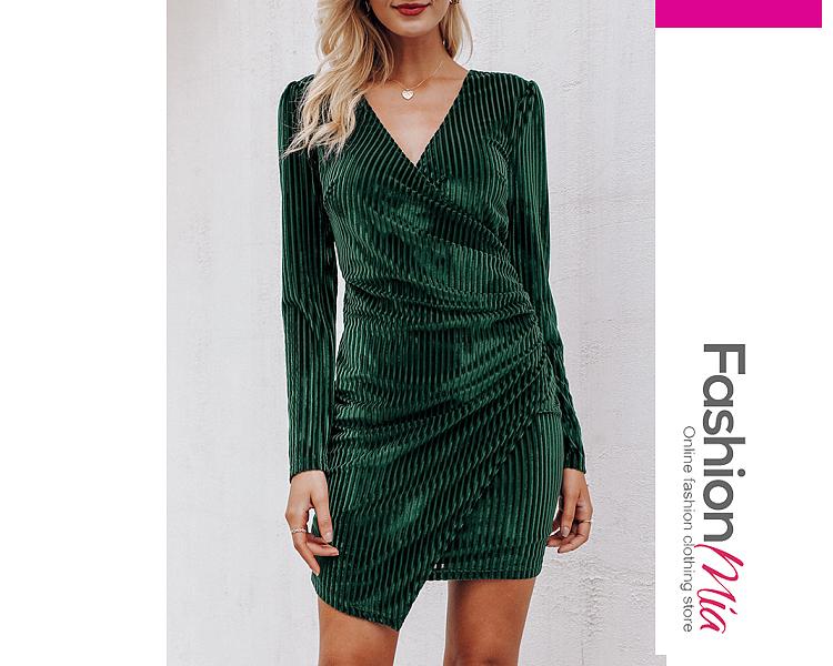 V-Neck  Ruched  Plain Bodycon Dress