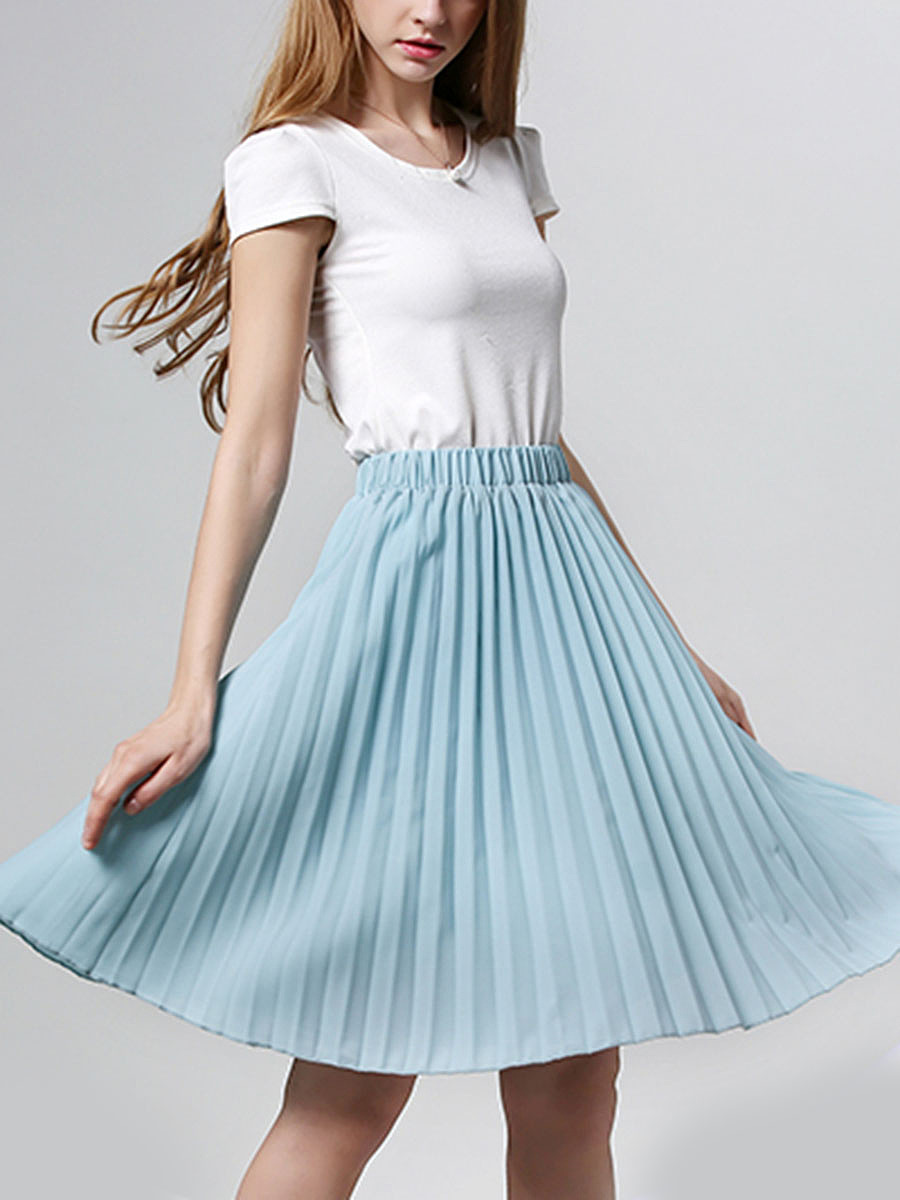 Plain Elastic Waist Pleated Midi Skirt