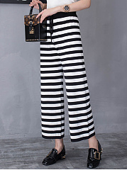 Black White Striped Wide-Leg Casual Pants