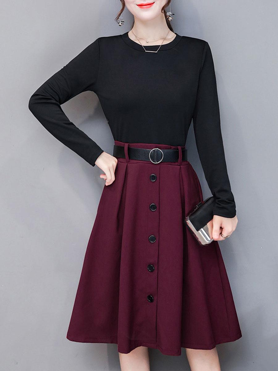 Color Block Round Neck Belt Pocket Maxi Dress