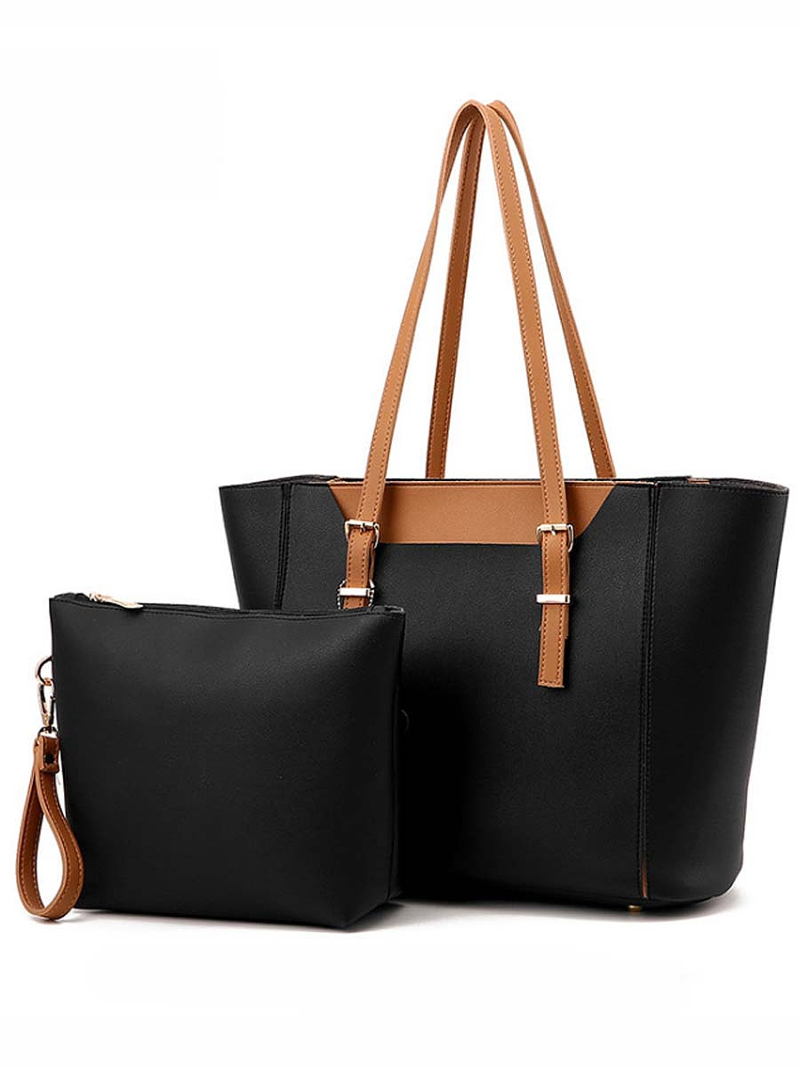Two Pieces Color Block Pu Shoulder Bag