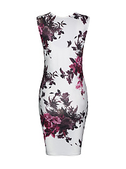 Fancy Sleeveless Round Neck Bodycon Dress In Floral Printed