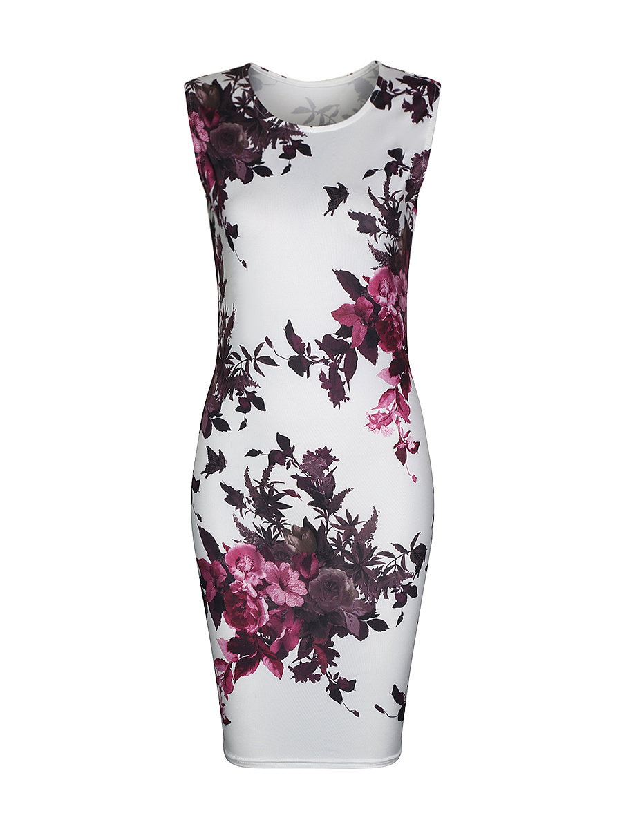 Fancy Sleeveless Round Neck Bodycon Dress In Floral ...
