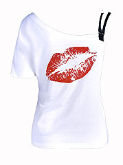 Summer  Cotton  Women  Spaghetti Strap  Lips Printed Short Sleeve T-Shirts