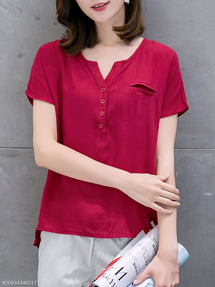 Summer  Cotton/Linen  Women  V-Neck  Decorative Button Short Sleeve T-Shirts