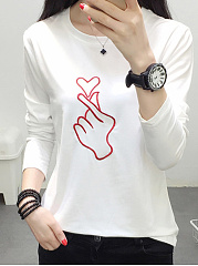 Summer  Polyester  Women  Round Neck  Printed Red Hand Heart Long Sleeve T-Shirts