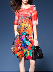 Colorful Printed Round Neck Pocket Shift Dress