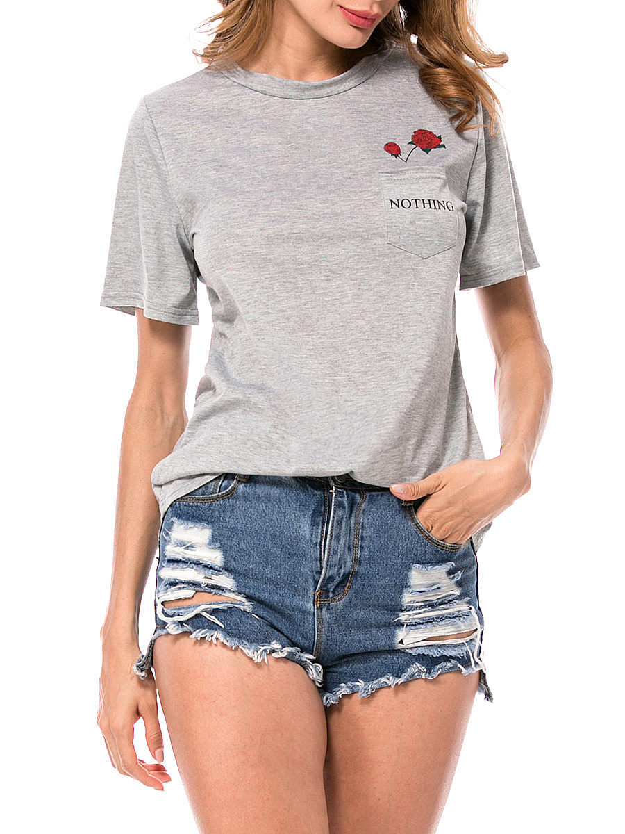 Crew Neck Patch Pocket Floral Letters Short Sleeve T-Shirt