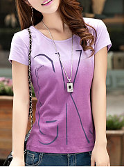 Summer  Cotton  Women  Round Neck  Gradient Letters Short Sleeve T-Shirts