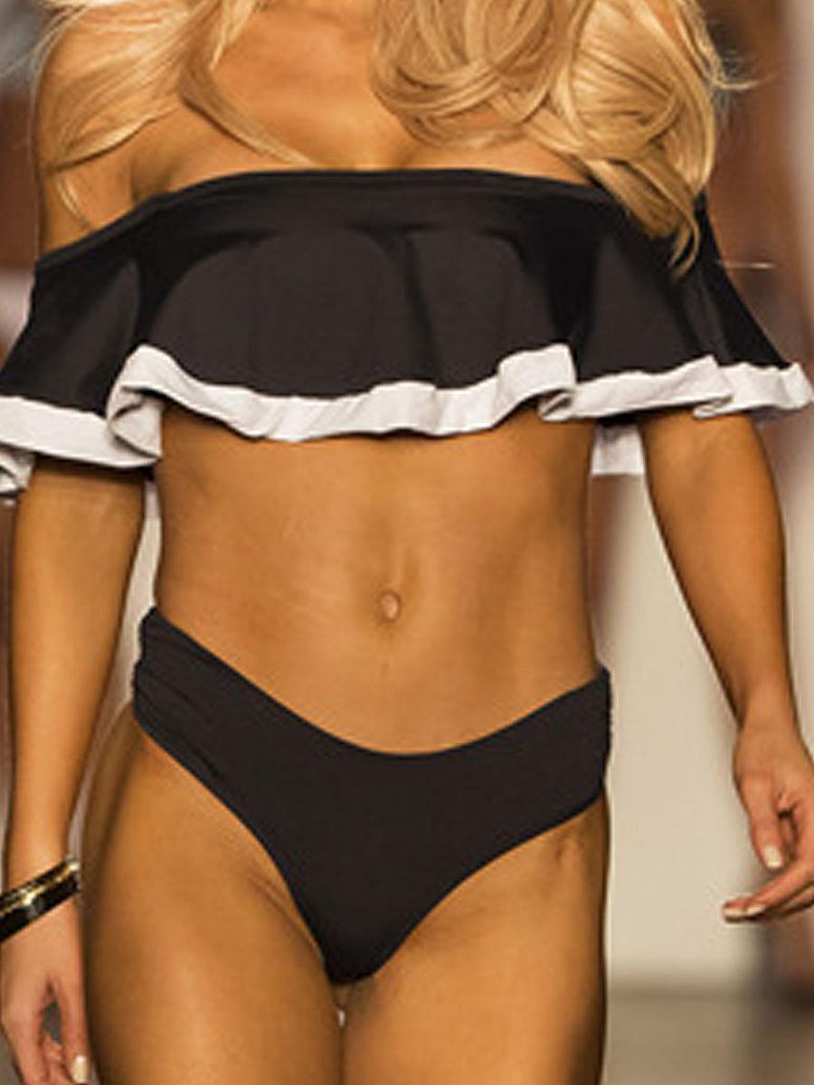 Off Shoulder  Lightweight  Plain  High-Rise Bikini
