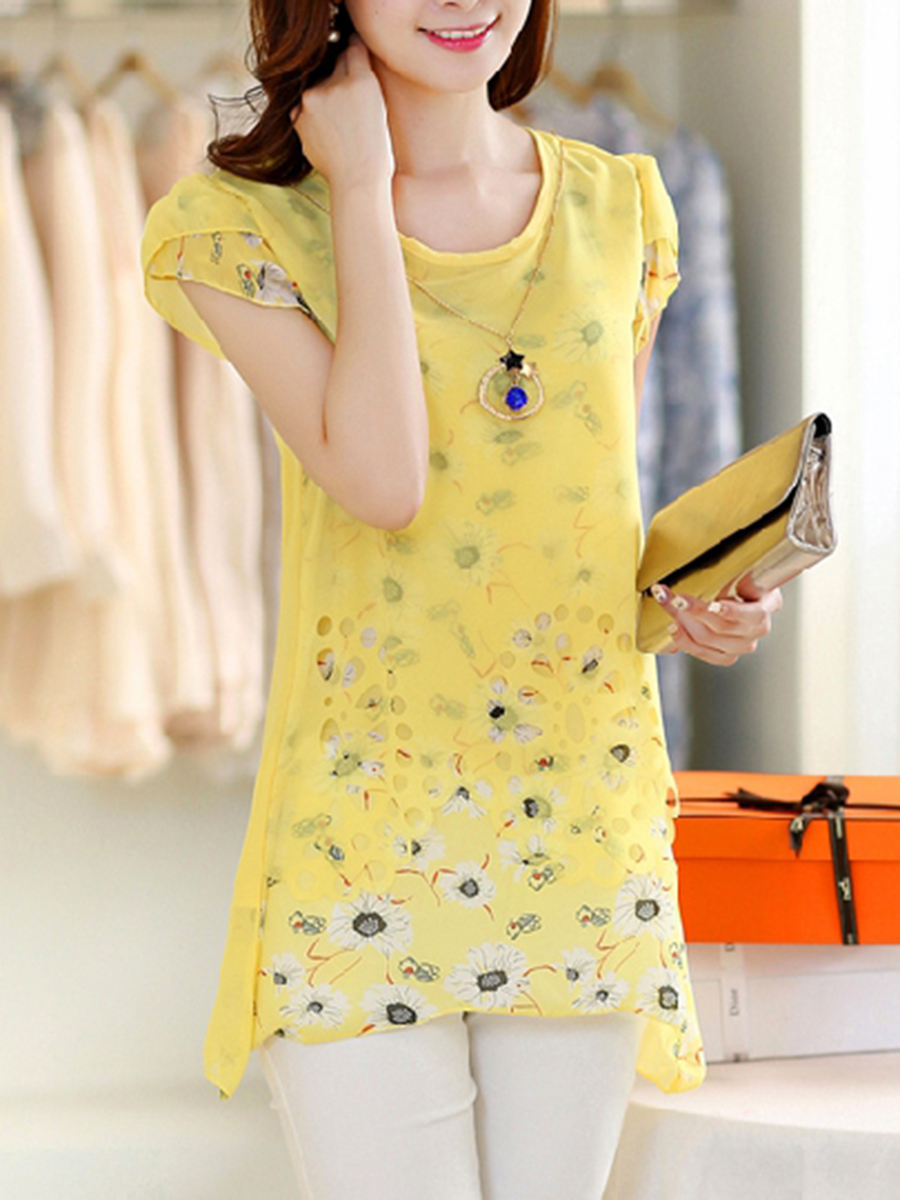 Summer Chiffon Round Neck Floral Petal Sleeve Short Sleeve Blouses
