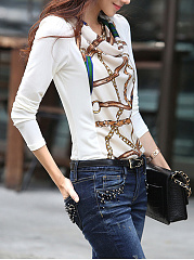 Cowl Neck  Printed Long Sleeve T-Shirt