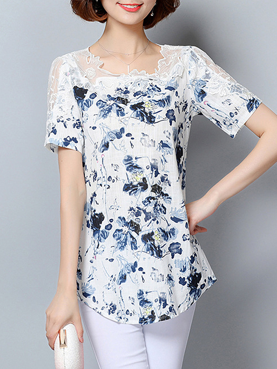Asymmetric Neck Decorative Lace Hollow Out Printed Blouse