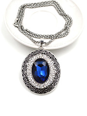 Embossed Blue Crystal Necklace