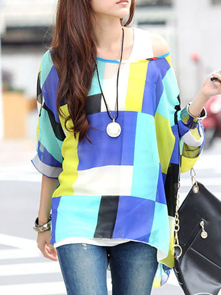 Spring Summer  Polyester  Women  Off Shoulder  Plaid  Batwing Sleeve  Three-Quarter Sleeve Blouses