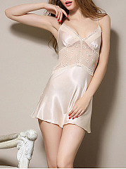 Backless Spaghetti Strap  Decorative Lace  Hollow Out  Satin Nightgown