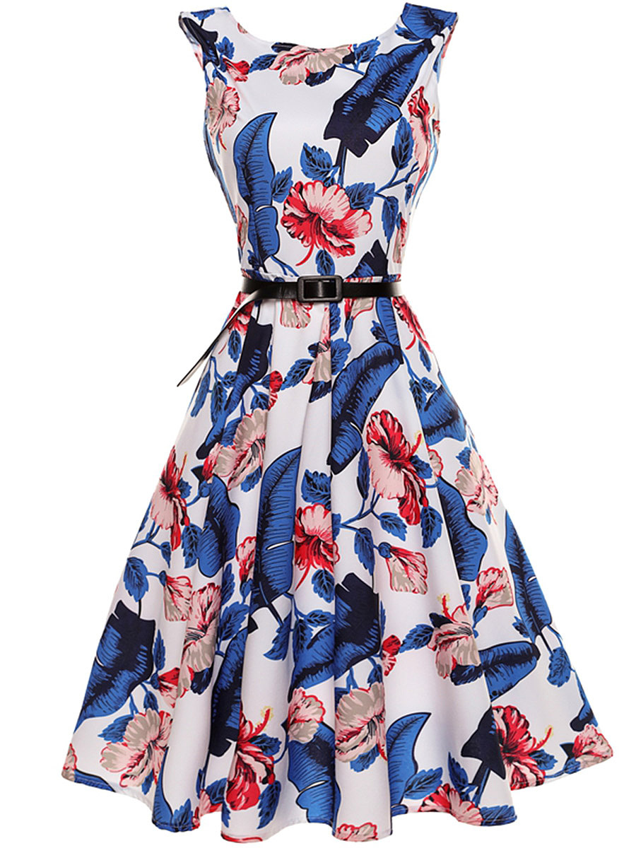 Glamorous Floral Printed Round Neck Belt Skater Dress
