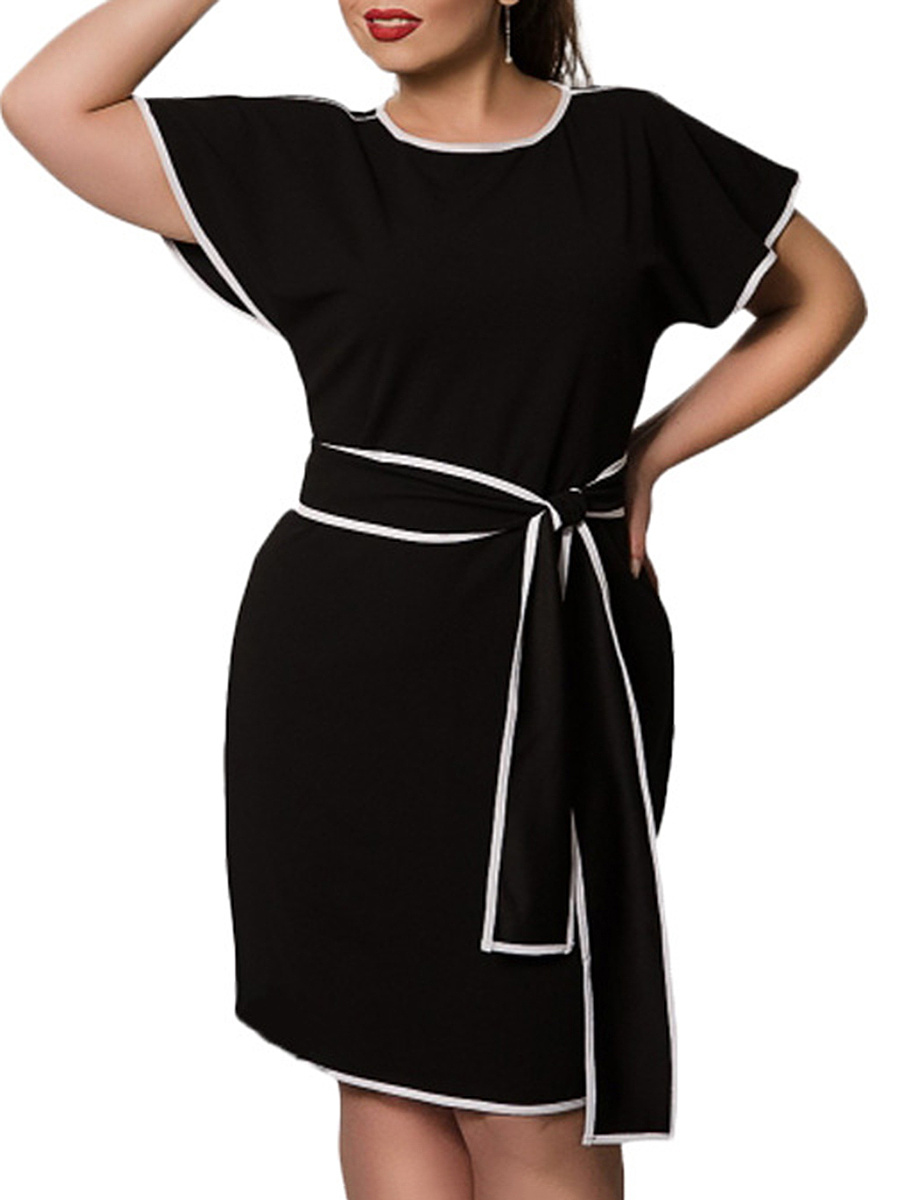 Round Neck  Flounce  Belt  Plain Plus Size Bodycon Dresses