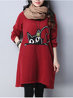 Round Neck  Cartoon  Cotton Blend Shift Dress