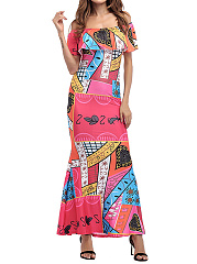 Off Shoulder  Abstract Print Maxi Dress
