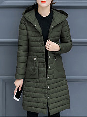 Hooded Patch Pocket Quilted Plain Padded Coat