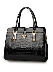 Crocodile Pattern Patent Leather Shoulder Bag