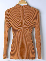 High Neck  Plain Rib Knit Sweater