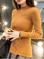 High-Neck-Plain-Rib-Knit-Sweater
