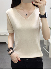 V-Neck  Plain  Short Sleeve Sweaters Pullover