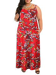 Round Neck  Backless  Bohemian Printed Plus Size Midi  Maxi Dresses