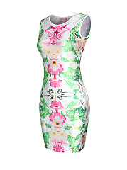 Ladylike Floral Printed Round Neck Bodycon Dress