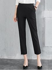 Black-Elastic-Waist-Slim-Leg-Cropped-Pants