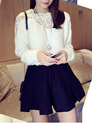 Round Neck Lace White Sweater