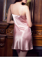 Spaghetti Strap  Embroidery  Satin Nightgown