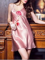 Spaghetti-Strap-Embroidery-Satin-Nightgown
